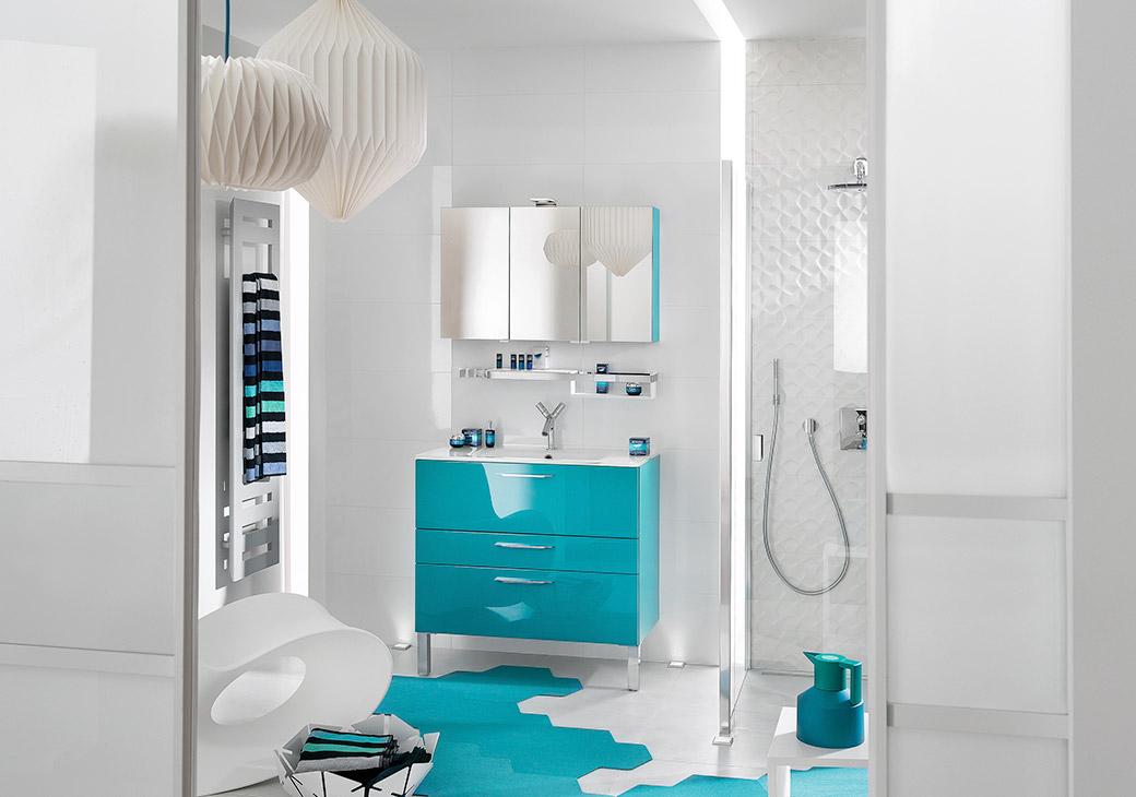 meuble salle de bain bleu